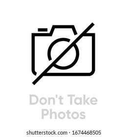 Don't Take Photos icon. Editable Vector Outline. Black outline Single Pictogram for website design, mobile apps and printing products.