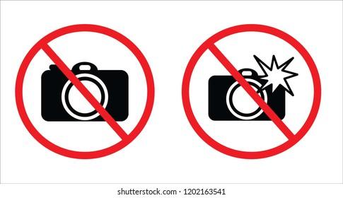 Don't take photos symbol and Don't use flash symbol