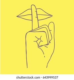 don't talk too much stay quiet symbol. hand with finger next to mouth. hand drawn vector illustration. isolated on yellow background.