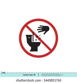 don't throw trash in the toilet sign icon symbol logo design element