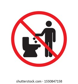 Don't throw trash in the toilet Sign icon symbol design isolated on white background