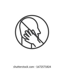 Don't touch face line icon. linear style sign for mobile concept and web design. Coronavirus prohibition sign outline vector icon. Symbol, logo illustration. Vector graphics