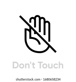 Don't Touch icon. Editable Vector Outline. Single Pictogram hand crossed out isolated on white background for website or mobile app.