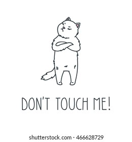 Don't touch me. Doodle vector illustration of angry white cat