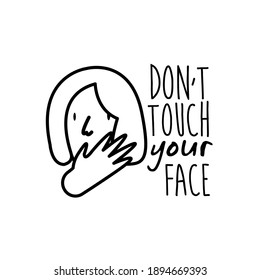 dont touch your face lettering campaign with woman line style vector illustration design