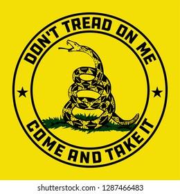 Don't Tread on Me Gadsden Flag emblem on yellow background