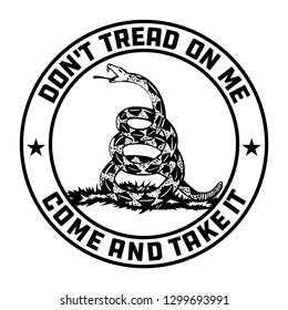 Don't Tread on Me Gadsden Flag emblem in black and white