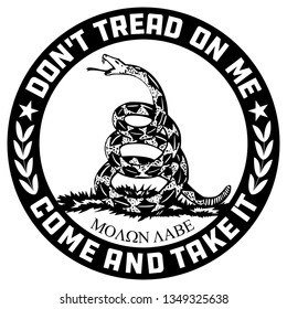 Don't Tread on Me-Come and Take it-Molon Labe Emblem in Black and White