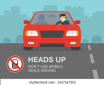 Don't use mobile while driving a car. Young man talking on the phone.