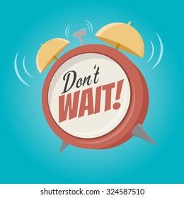 don't wait cartoon alarm clock