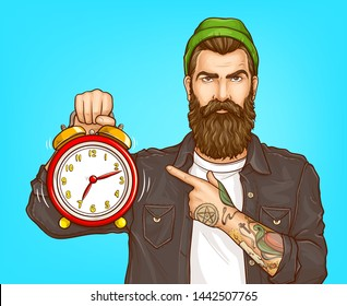 Dont waste time, hurry on sale pop art vector concept. Portrait of serious, bearded hipster man with tattooed forearms, wearing beanie pointing with finger on ringing alarm clock in hand illustration
