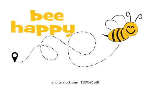 Don't worry Bee happy with flying Bee Dont Worry Be Happy Cute flying Bee happy dotted route Vector fun funny track map pin navigation location pointer icon flight route line trace sign Hello summer