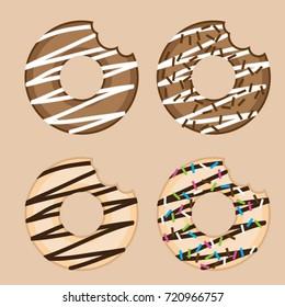 donut with bite mark set vector illustration