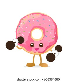 Donut cartoon holding dumbbell with happiness isolated on white background vector eps10 ,character design
