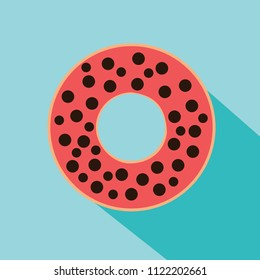 Donut chocolate chip flavor flat design for sweet and dessert foods