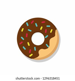 Donut with chocolate.  Vector illustration.