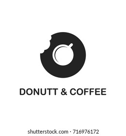 donut and coffee logo vector