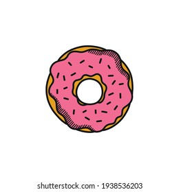 donut doodle icon, vector illustration