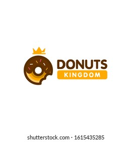 donut doughnut with king crown icon logo design in modern trendy cartoon line style clip art illustration