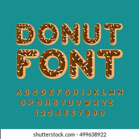 Donut font. pie alphabet. Baked in oil letters. Chocolate icing and sprinkling. Edible typography. Food lettering. Doughnut ABC