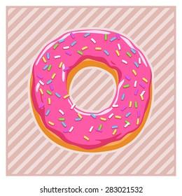 Donut glazed with caramel sprinkles. Vector Illustration