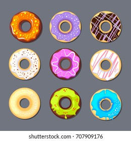 donut icon set. food illustrations in cartoon style isolate on dark background