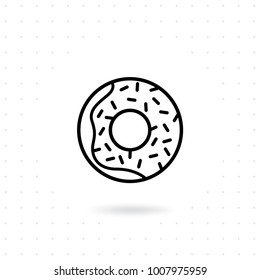 Donut icon. Sweet donut vector illustration. Doughnut glaze outline icon design. Delicious sweet donut illustration. Vector illustration in line style