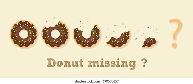 "Donut illustration vector, Donut in concept ""Donut missing ?""."