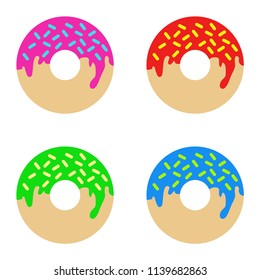 Donut. Juicy donut. White background. vector illustration. EPS 10. A set of donuts. A set of donuts with different flavors and additives.