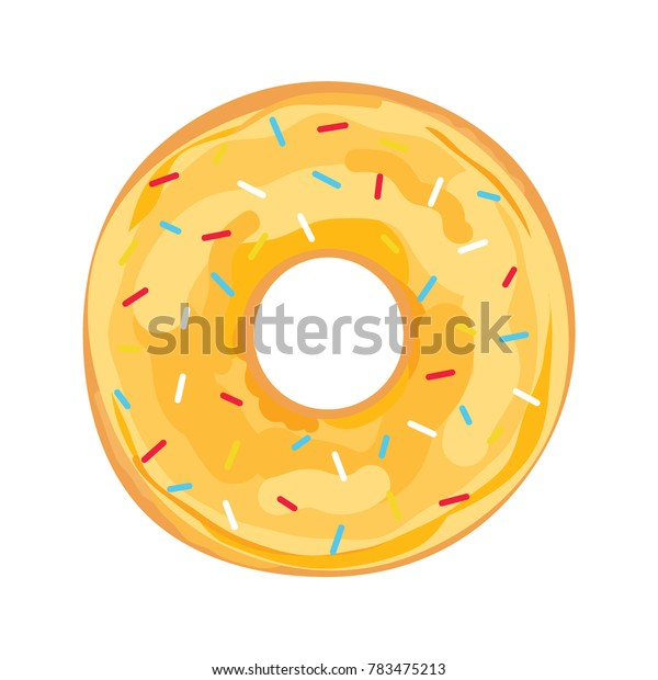Donut with Lemon Yellow Glaze Frosting Sprinkles Icon Vector Illustration Background