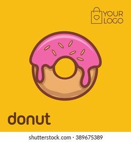 Donut Logo icon flat design, Vector illustration banner
