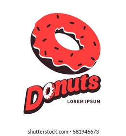 Donut logo vector illustration. Vintage style badges and labels design concept for your restaurant business.