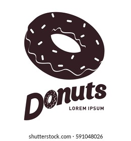 Donut logo vector illustration. Vintage style badges and labels design concept for your restaurant business. Two tone logo templates for your design. Isolated on a white background