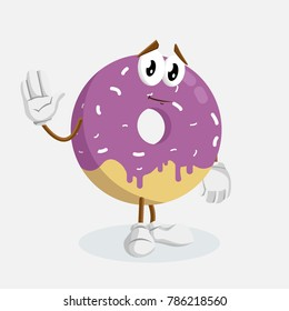 Donut mascot and background goodbye pose with flat design style for your mascot branding.