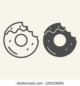 Donut with a mouth bite line and glyph icon. Bitten donut vector illustration isolated on white. Dessert outline style design, designed for web and app. Eps 10