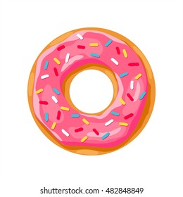 donut with pink glaze. donut icon,  vector illustration