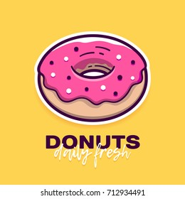 Donut with pink icing in modern flat outline style and slogan Daily Fresh. Cartoon doughnut icon or label for logo and cafe menu. Vector banner design