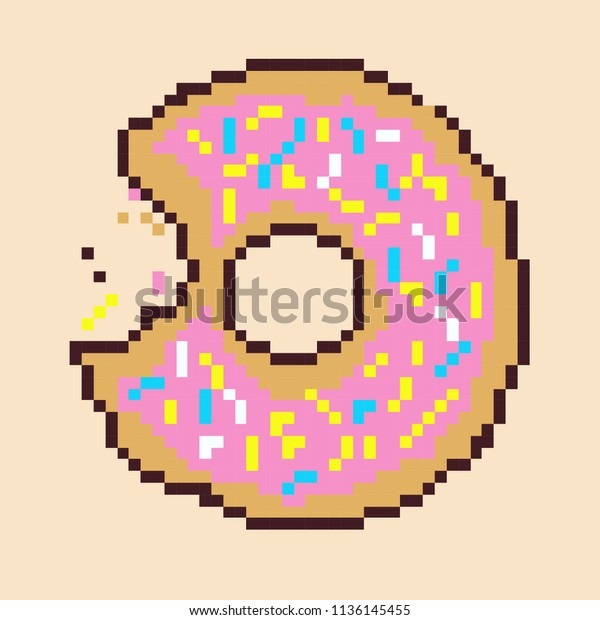 Donut Pixel Art Stock Vector Royalty Free 1136145455