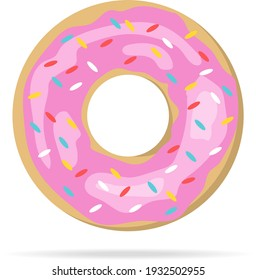 Donut, realistic donut with pink icing isolated on white background with shadow. Vector, cartoon illustration. Vector.