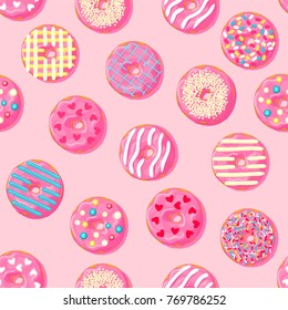 Donut seamless pattern. Pink donut with different topping on pink background