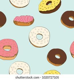 Donut seamless vector pattern