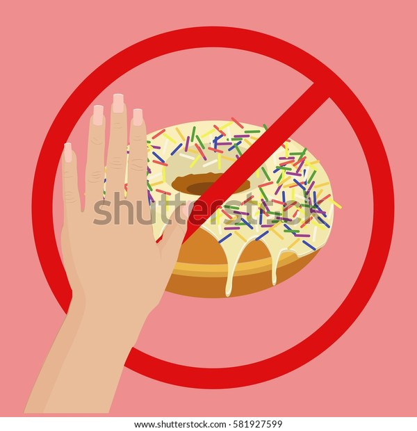 Donut with sprinkles. NO sign. Healthy eating. Flat vector stock illustration