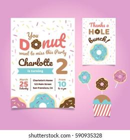 Donut Theme Birthday Invitation Template