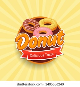 Donut typographical logo design concept for label, sticker and emblem.  template for brand, flyers, web, posters, ad, promotions, marketing, packaging. Vector illustration
