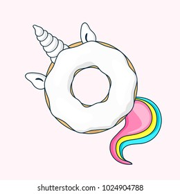 Donut unicorn with white  glaze and with rainbow tail.  Vector illustration