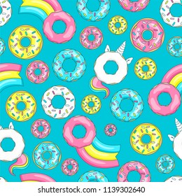 Donut unicorn with white  glaze and rainbow tail, pink, blue mint and yellow lemon donuts, donut comet with rainbow. Seamless pattern. Vector illustration