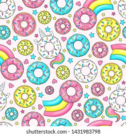 Donut unicorn with white  glaze and rainbow tail, pink, blue mint and yellow lemon donuts, donut comet with rainbow, hearts and stars. Seamless pattern. Vector illustration