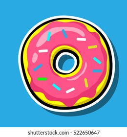 Donut vector icon isolated on blue. Pop art Cool Patch, sticker. Comics style 80s 90s. Cute, tasty, Colored sprinkles, pink topping, logo for bakery menu. Color illustration