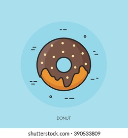 Donut vector isolated food icon.