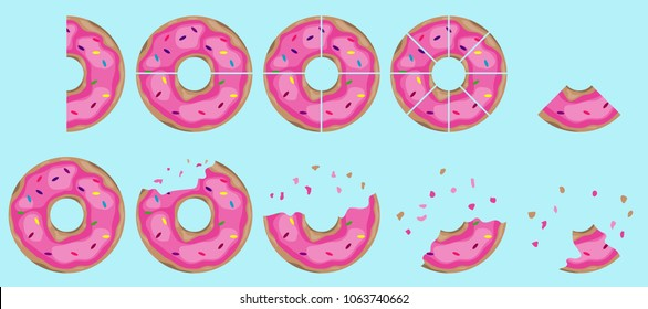 Donuts, bitten pieces of a donut. Cutted donut on different parts .. Flat design, vector illustration, vector.